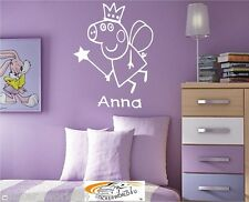 Wall Art Sticker Childrens Any Name Personalised Peppa Pig Pepper P017