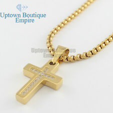 """24"""" men stainless steel micro paved gold CZ cross pendant box Necklace Chain"""