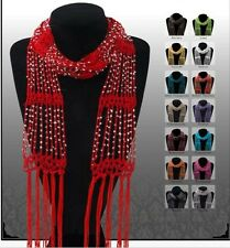 Promotion New fashion  Crocheted Bling Rhinestone Beaded Colorful Knitted Scarf