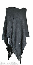 Ladies Sequins Details knitted Poncho Cape Shawl Shrug Wrap Waterfall Fast Ship