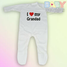 """I Love {Heart} my Grandad"" Embroidered Baby Romper Babygrow - Baby Gift"