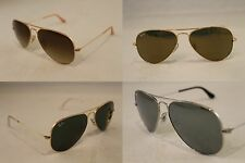 New Authentic Rayban Aviator Gold Silver Black RB3025 Sunglasses 58mm 62 55
