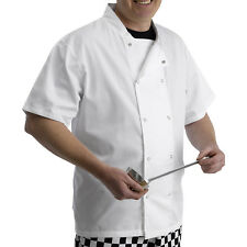 Polycotton Chefs Jacket Short Sleeves Press Studs Catering Whites Kitchen Cooks