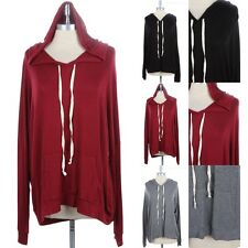 Junior Plus Size- Long Sleeve Hooded Top with Kangaroo Pocket Rayon 1XL 2XL 3XL