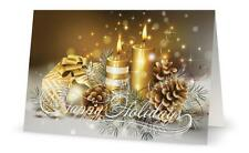 UR Words BUSINESS PERSONAL Golden CANDLES Gifts CUSTOM Christmas Holiday CARDS