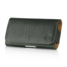 for SAMSUNG Phone - HORIZONTAL BLACK Leather Pouch Holder Belt Clip Holster Case