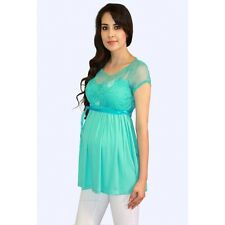 Cute Light Blue Short Sleeve Maternity Blouse (Free Shipping) S-M-L-XL