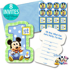 MINNIE OR MICKEY MOUSE 1ST FIRST BIRTHDAY PARTY SUPPLIES  INVITATIONS INVITES