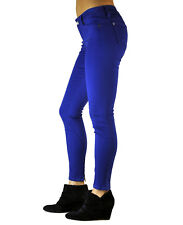 Standards & Practices Women's Blue Stretch Twill Zip Ankle Cropped Skinny Jeans