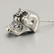 316L Stainless Steel Skull White CZ Stone Fashion Stud Earring 4X030A