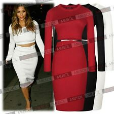 Sexy Women Celeb Two Piece Bodycon Crop Top Skirt Sweater Party Playsuit Dresses