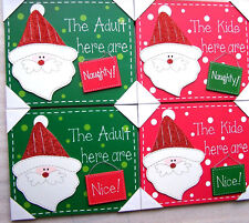 Novelty Wooden Christmas Wall Hanger Decoration Sign Naughty Nice Adult or Child