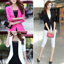 NEW Fashion Womens Candy  Basic Slim Foldable Jacket Blazer Coat 3colors
