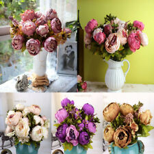 1Bouquet 8 Heads Artificial Peony Silk Flower Leaf Home Room Wedding Party Decor