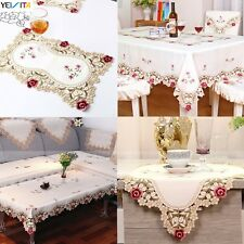 Embroidered Flowers Cutwork Satin Fabric Home Dining Tablecloth Table Placemat