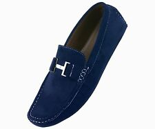 Amali Mens Casual Shoe Driving Moccasin Loafer in Navy Blue Microfiber: 1417-002