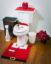 Happy Fancy Santa Toilet Seat Cover and Rug Bathroom Christmas Decorations Set