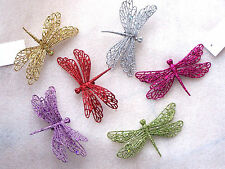 Dragonfly Glitter Clip On Christmas Tree Wreath Garland Decorations Red Green