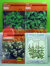 2012 HERB SEEDS: Chamomile, Basil (Italian, Lettuce Leaf, True Thai Queenette)