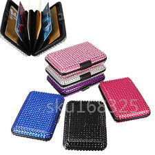 Sparkling Bling Pocket Business ID Credit Card Holder Case Aluminum Metal Wallet