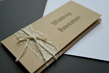 20 50 100 Hand-made Personalized Vintage rustic Wedding Invitation with lace