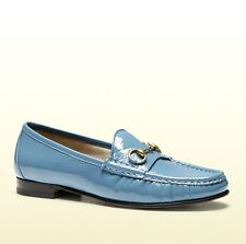 $575 New Auth 1953 GUCCI Soft Patent Leather Horsebit Loafer, Blue, 338348 4400
