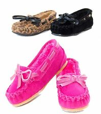 Baby Toddler Girls Moccasin Oxford Style Slip On Shoes Faux Fur Linned Flats