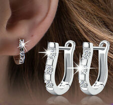 Fashion Women, Lady Elegant Silver Platinum Harp-type Leverback Hoop Earrings