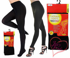 Womens Black Thermal Fleece Lined Tights Ladies Thick Winter Black Tights 8-14