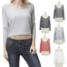 Raw Neckline Raglan Long Sleeve Sweater Top Loose Fit Wide Round Neck Cute S M L