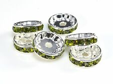 rhinestone copper spacer bead, silver plated, peridot rhinestone, 6-12mm