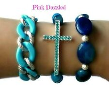 Faceted Blue Striated Agate Cross Arm Candy Bracelet Set Bling Hip Hop Jewelry