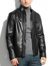 $695 NWT NEW Mens Designer Cole Haan Black Lambskin Leather Moto Jacket