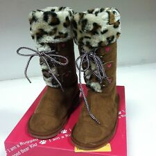New Rugged Bear Girl's Kids RB13187 Lace Up Faux Animal Print Fur Boots Brown 4
