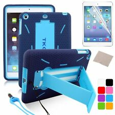 Hybrid Heavy Duty Hard/Soft Silicone Case Cover with Stand For APPLE iPad Mini 1