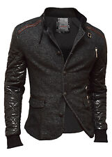 Blazer Jacket Quilted Sleeves Party Celebration Cotton Faux Leather Grey Black