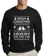 Meowy Christmas Ugly Sweater Sweatshirt Funny Cat Lovers Xmas Holiday Contest