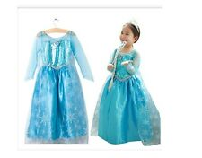 FROZEN PRINCESS ELSA SNOWFLAKE GIRLS COSTUMES COSPLAY DRESS CAPE FOR 3-8YEARS