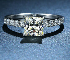 Size 5-10 NICE Jewels 925 Silver Square White Sapphire Gem Ladys Ring HOT