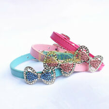 New Dog Cat Puppy Leather Colorful Bow Collars Bling Crystal Buckle Rhinestones