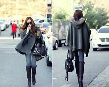 Casual Womens Cape Black Batwing Wool Poncho Jacket Lady Winter Warm Cloak Coat