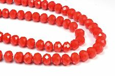 Crystal quartz, faceted rondelle, red color bead, jewelry bead
