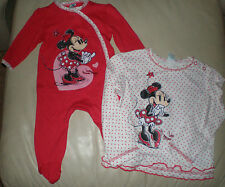 Disney Minnie Mouse Long Sleeve Top Or Sleepsuit Onesie Lovely Gift New/Tags