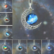 Fashion Womens Beautiful Crescent Moon Galactic Universe Glass Cabochon Necklace