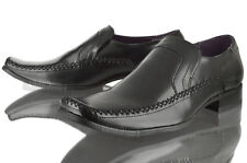 NEW MENS SMART FORMAL OFFICE WORK SQUARE TOE BLACK LEATHER SLIP ON SIZE SHOES