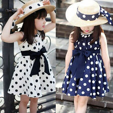 Cute Kids Girls Princess Polka Dot Dress Bowknot Sleeveless Skirt Wedding Party