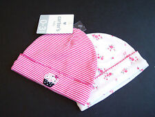NWT Carters Baby Girls Pink Stripe Cupcake+White Floral BEANIE HAT 2pc SET 0-3 m