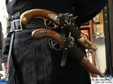 Pirate leather belt double holster for flintlock pistol, very high quality!