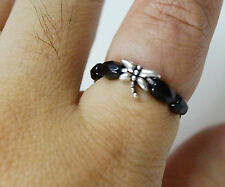Lovely Dragonfly Faceted Black Onyx Beaded Stretch Ring/Midi Ring/Toe Ring