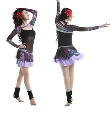 New 2014 Free Shipping Belly Dancing Costume Set Outfit Printed Shrug&Skirt